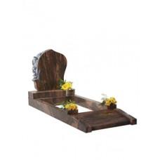 EC104 Brown Granite Modern Memorial with Carved Flowers