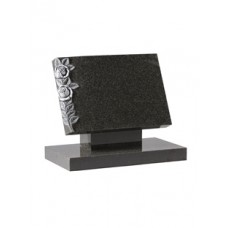 EC131 Dark Grey Granite raised tablet with hand carved and highlighted roses