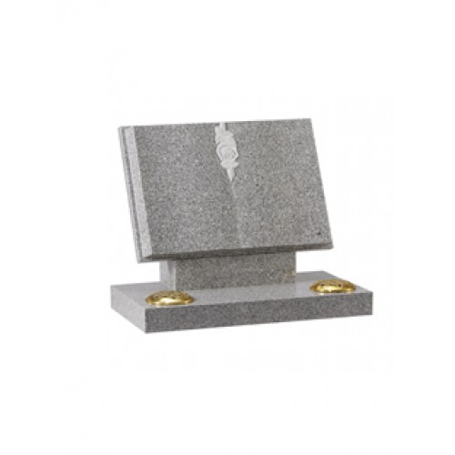 EC133 Light Grey Granite book memorial with carved rose and wide rest