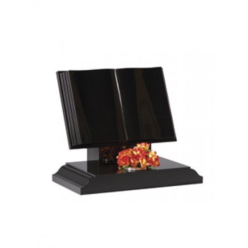 EC134 Black Granite traditional style book with stepped and polished page edges and half ogee moulded edges on the base.