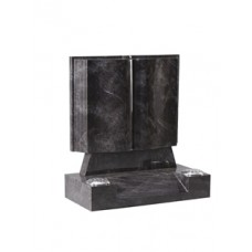 EC137 Bahama Blue Granite Book with stepped and polished page edges and centre splay base.