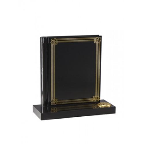"EC140 Black Granite ""Book of Life"" with a gilded decorative border."