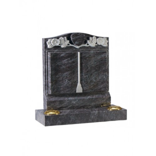EC141 Bahama Blue Granite headstone with worked book and carved heart and wild roses.