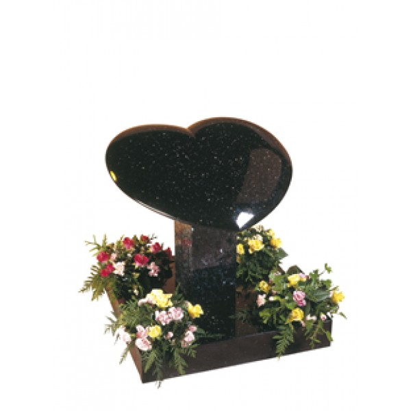 EC150 Star Galaxy Granite cushioned effect rounded heart on column and base.