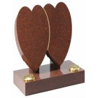 EC152 Ruby Red Granite double hearts entwined signifying undying love.