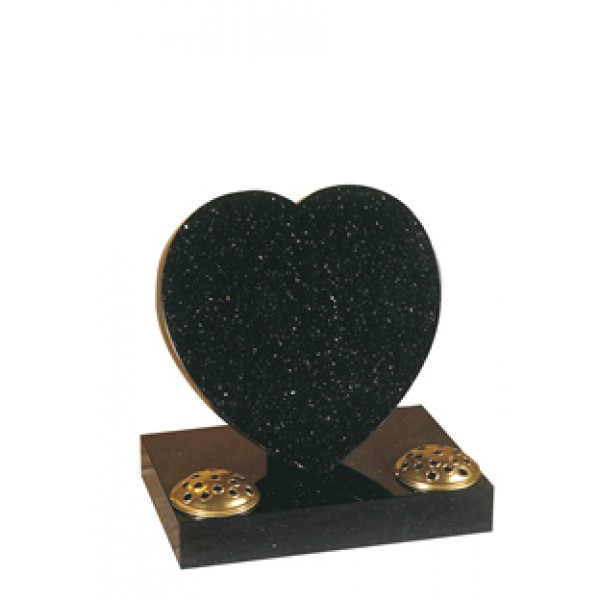 EC154 Star Galaxy Granite heart with rest and base.  A simple yet classic cremation heart.