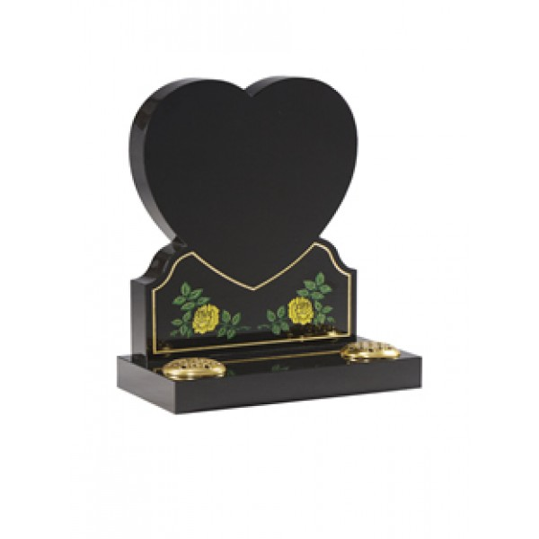 EC156 Black Granite heart memorial with painted rose design.  Can be plain or painted in any colour.