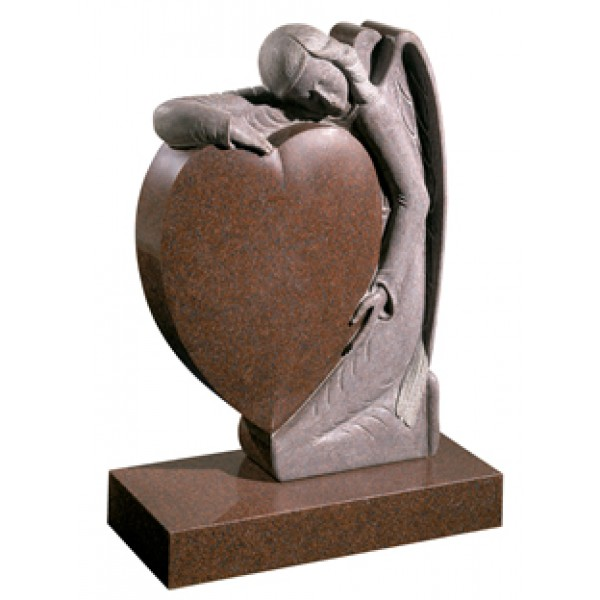 EC157 Imperial Red Granite memorial.  A beautifully carved angel holds a heart.