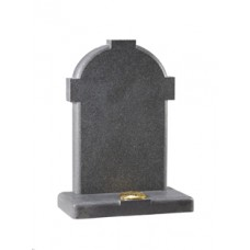 EC172 Dark Grey Granite headstone honed with rounded edges to give a cross effect.