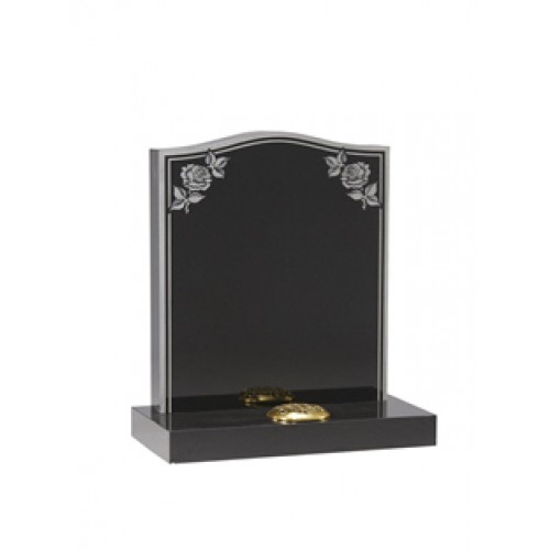 EC17 Black Granite headstone with sandblast etched rose and double border.