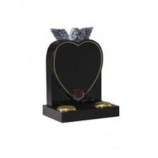 EC227 Black Granite Childrens Heart and Angel Memorial