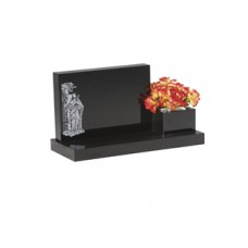 EC242 Black Granite Headstone and Vase Memorial