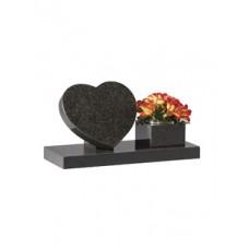 EC243 Dark Grey Granite Heart and Vase Cremation Memorial