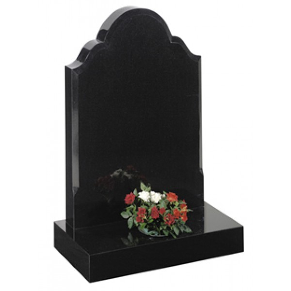 EC25 Black Granite Traditional Headstone Memorial