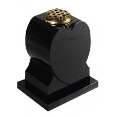 EC275 Black Granite Shaped Vase with Base Plate