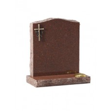 EC60 Ruby Red Granite headstone with rustic edges with bronze cross and rose.