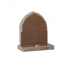 EC63 Balmoral Red Granite Gothic shaped headstone with rustic edges and rebate.