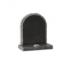 EC65 Dark Grey Granite round top headstone with rustic edges and matching margin.