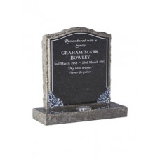 EC66 Ogee Headstone with rustic edges and hand carved roses with pin line.