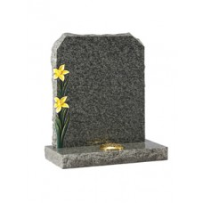 EC67 Green Granite Headstone with rustic edges and coloured highlighted daffodils.
