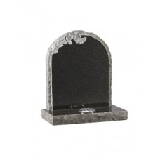 EC69 Dark Grey Granite round top headstone with rustic edges and natural carved roses.