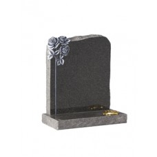 EC71 Dark Grey Granite Headstone with highlighted hand carved roses to contrast the rustic edges.